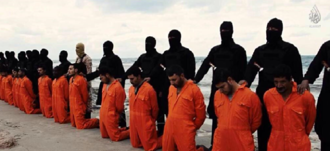 ISIS jihadists prepare to behead 21 Egyptian Christians in Libya. (source: screen capture from new ISIS video)